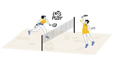 Female flat characters playing tennis on court. Women tennis tournament vector illustration. Girl with racquet starting point, serve shot. Racket sport game professional training