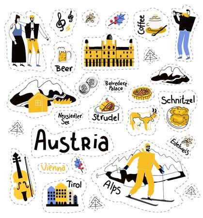 Austria icons set.