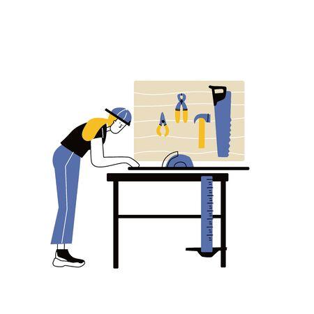 Girl carpenter with Diy Tools