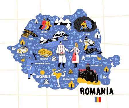 Romania map hand drawn vector illustration flag