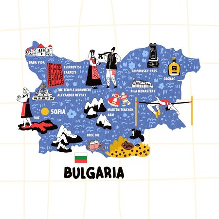 Bulgaria map hand drawn vector illustration flag