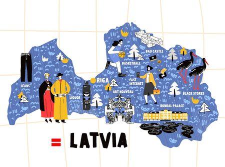 Latvia map hand drawn vector illustration flag
