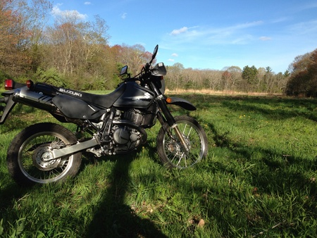 suzuki: This is my 2012 suzuki dr650 on a little trail ride I went in in a state forest located in eastern ct.