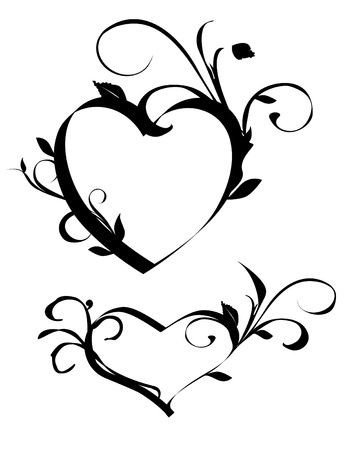 floral heart: hearts with floral elements Illustration