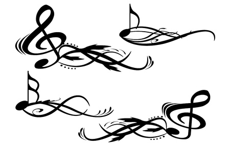 musical note: musik notes with floral elements Illustration