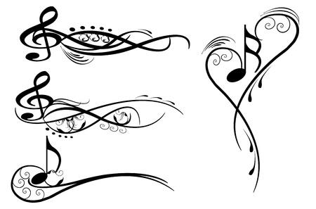 notes musicales: notes de musique �l�ments de protection wirh floraux