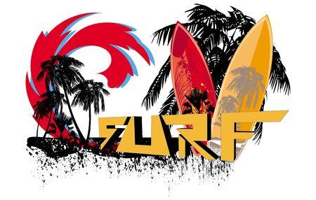 background, surfboard Illustration