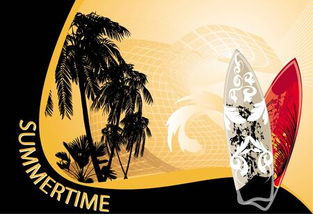 summer background with surfboard and palm-trees Illustration