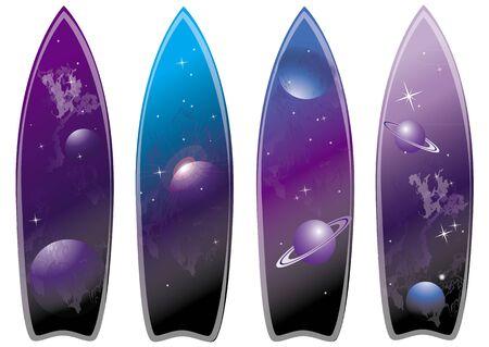 surfers: set of surfboard