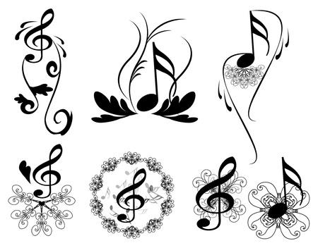 notes de musique: notes florales cl�s avec L�MENTS