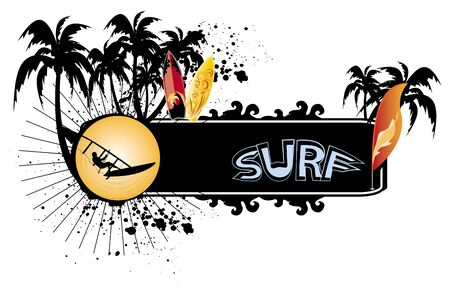surfers: surf banner with surfboard