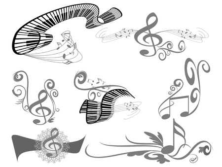 music key notes and piano Stock Vector - 17814471