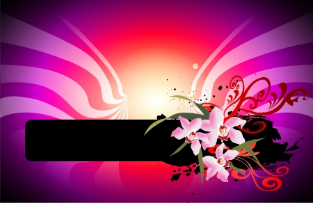 abstract background with banner and flowers