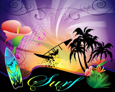 surf background, surfers, flowers and surfboard
