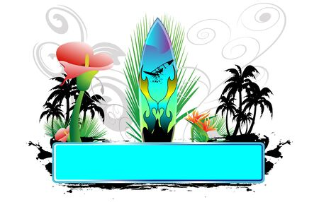 summer holidays: surfbaord with banner,  flowers and palm trees