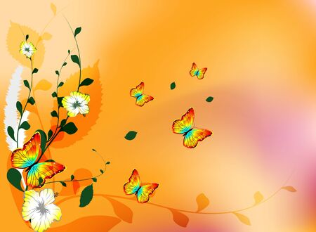 blomming: abstract background wiuth flowers and butterfly Illustration