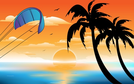 beach sunset: sunset, beach Illustration