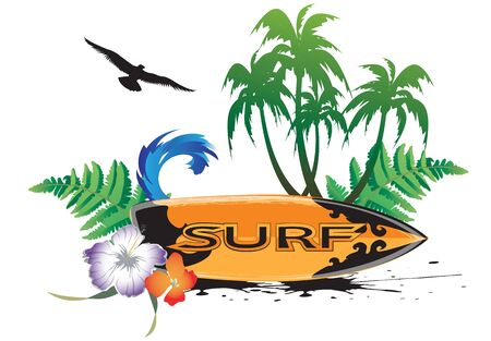 Surf background with surfers and palm trees