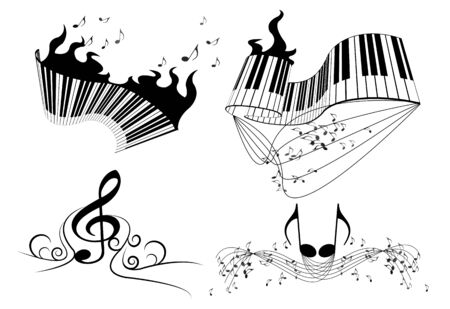 music key notes and piano keybord with floral elements Vector