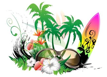 navigare sfondo con tavola da surf e occhiali da sole Vettoriali