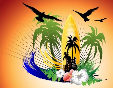 surf background with surfboard Ilustração