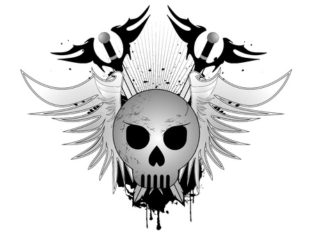 Skull with sword and wings Illustration