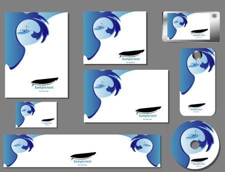 corporate identita template, surfboard