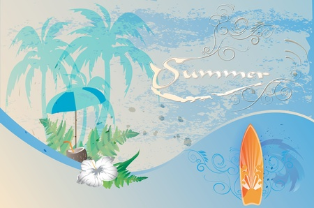 Summer background, retro Illustration