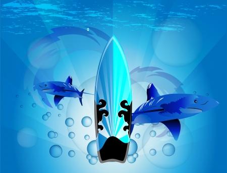 Surfboard with shark