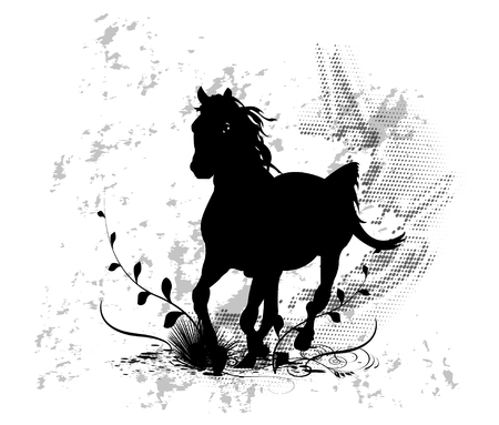 Horse tattoo with grunge and leaves