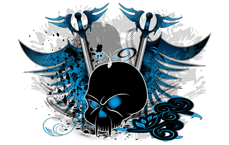 Skull with wings and sword