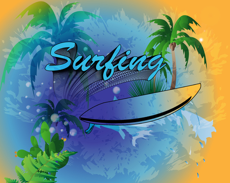 Surfing, background with wave, surfboard and palm trees