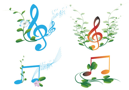 Set of clef with flowers and leaves Illustration