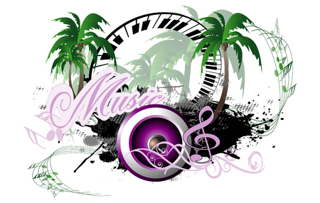 Music, speaker with piano and palm trees