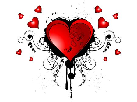 Hearts with floral elements and grunge
