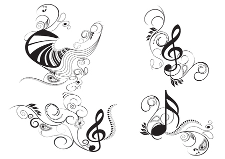 set of music key notes and clef with floral elements