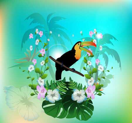 Toucan with flowers