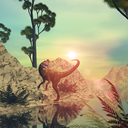 Dilophosaurus in a fantasy world in the sunset