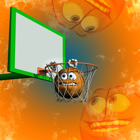 Funny basketball do not want in the basketball hoop Stock Photo