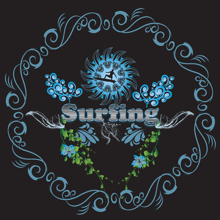 Surfing surfboarder with decorative floral elements Stock Photo