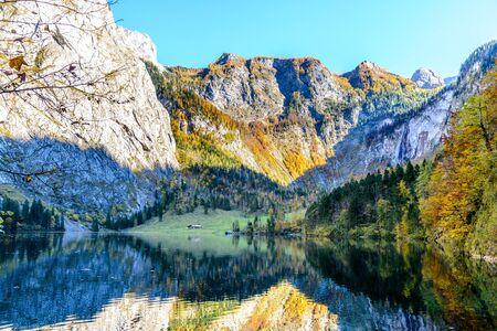 Obersee, Salet by Konigssee (Königssee, Königsee, Koenigsee, Konigsee, Koenigssee) lake in autumn. Berchtesgaden National Park, Bayern  (Bavaria), Germany.