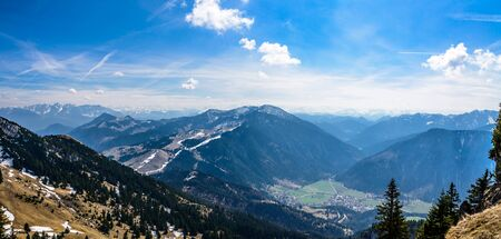 Panorama view from Wendelstein mountain by Bayrischzell on bavarian alps. Bayern (Bavaria), Germany. 写真素材