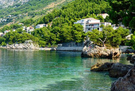 beautiful famous Brela Kamen Rock - symbol of Brela, near Punta Rata beach, small Podrace beach. Makarska Riviera, Croatia.
