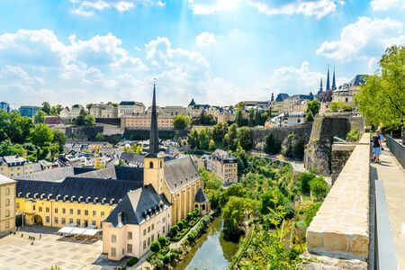 Aerial view on Luxembourg city, church in Neumunster Abbey. Luxemburg Stockfoto