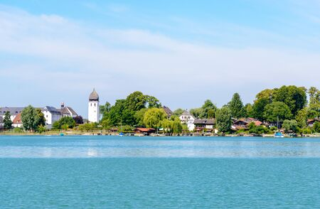 Fraueninsel, Frauenchiemsee on lake Chiemsee with  church, monastery. Bavaria, Bayern, Germany