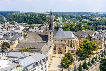 Aerial view on Luxembourg city, church Cathedrale Notre-Dame. Luxemburg