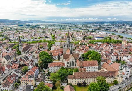 Aerial view of harbor city Konstanz on Bodensee - Lake Constance, Germany.