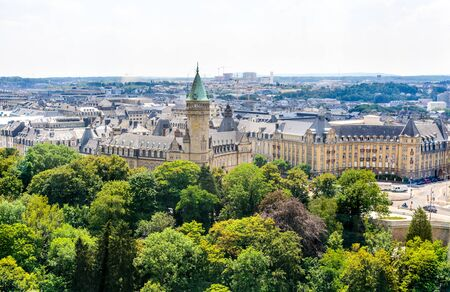 Aerial view on Luxembourg city, Musee de la Banque. Luxemburg