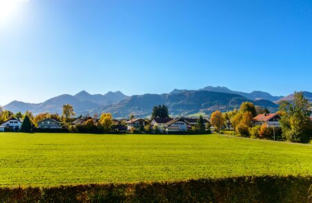 View on alps mountains, Kampenwand from Bernau am Chiemsee lake in autumn. Bavaria (Bayern), Germany, nearby border with Austria, Tirol