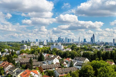 Beautiful view on Frankfurt Skyline at the day. Hessen, Germany.